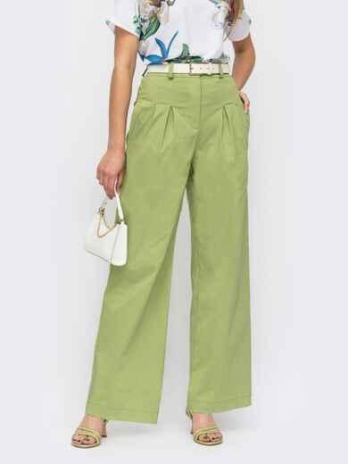 Зелёные брюки прямого кроя с завышенной талией 53943, фото 1