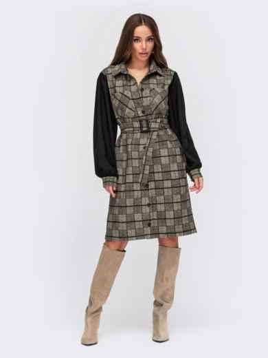Бежевое платье-рубашка в клетку с однотонными рукавами 55584, фото 1