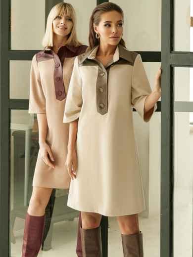 Замшевое платье-рубашка с кокеткой из экокожи бежевое 52967, фото 1