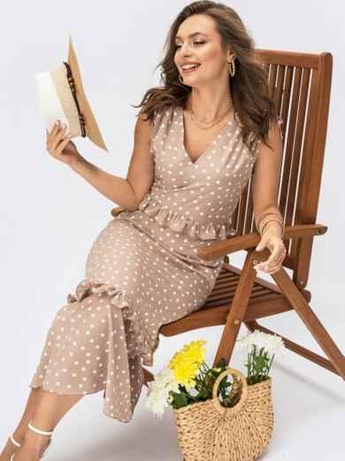 Бежевое платье без рукавов в горох с V-образным вырезом 54387, фото 1