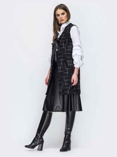 Чёрный жилет из букле с принтом - 45275, фото 2 – интернет-магазин Dressa