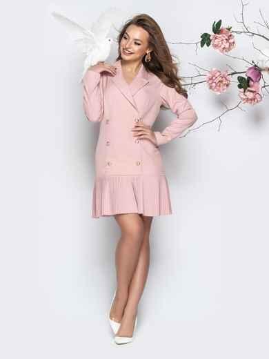 Двубортное платье-пиджак с плиссированной юбкой пудровое - 21209, фото 1 – интернет-магазин Dressa