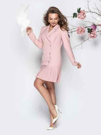 Двубортное платье-пиджак с плиссированной юбкой пудровое - 21209, фото 2 – интернет-магазин Dressa