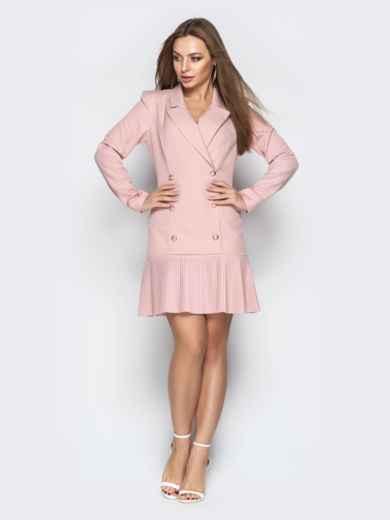 Двубортное платье-пиджак с плиссированной юбкой пудровое - 21209, фото 3 – интернет-магазин Dressa