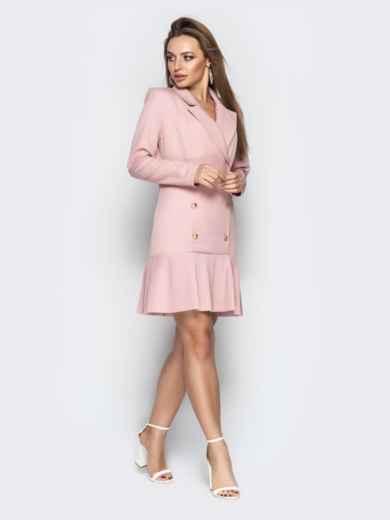 Двубортное платье-пиджак с плиссированной юбкой пудровое - 21209, фото 4 – интернет-магазин Dressa
