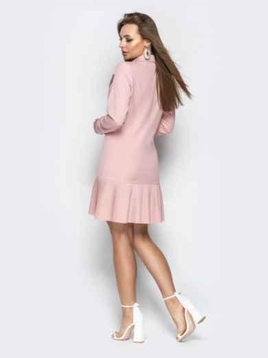 Двубортное платье-пиджак с плиссированной юбкой пудровое - 21209, фото 6 – интернет-магазин Dressa