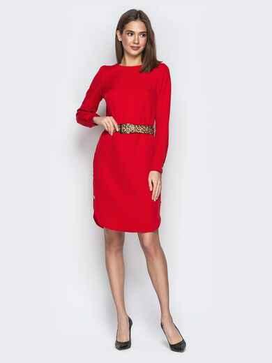 Красное платье прямого кроя с пуговицами по бокам 21342, фото 1