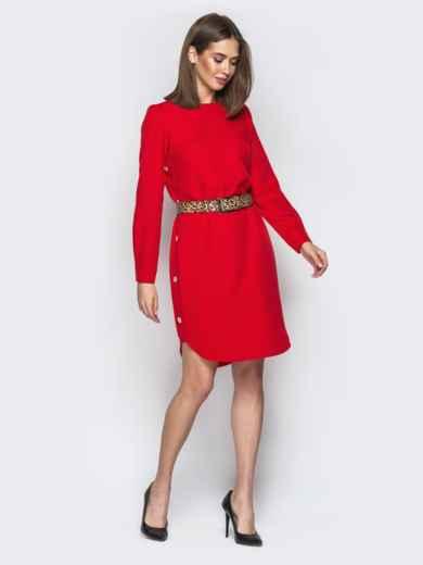 Красное платье прямого кроя с пуговицами по бокам - 21342, фото 2 – интернет-магазин Dressa