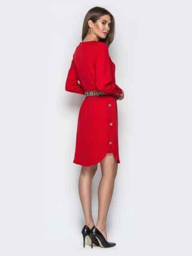 Красное платье прямого кроя с пуговицами по бокам - 21342, фото 3 – интернет-магазин Dressa
