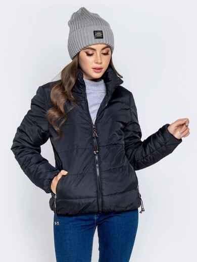 Куртка чёрного цвета с карманами на молнии 40625, фото 1