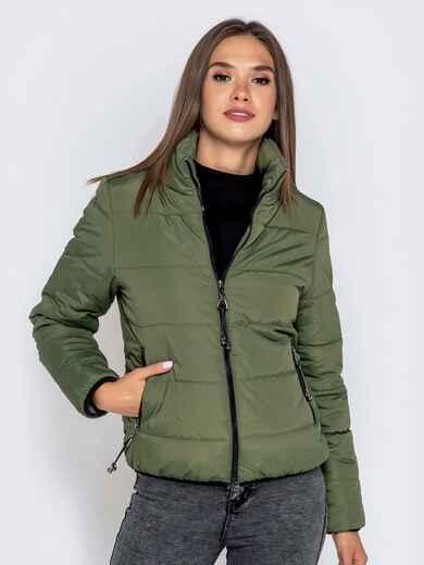 Куртка цвета хаки с карманами на молнии 40627, фото 1