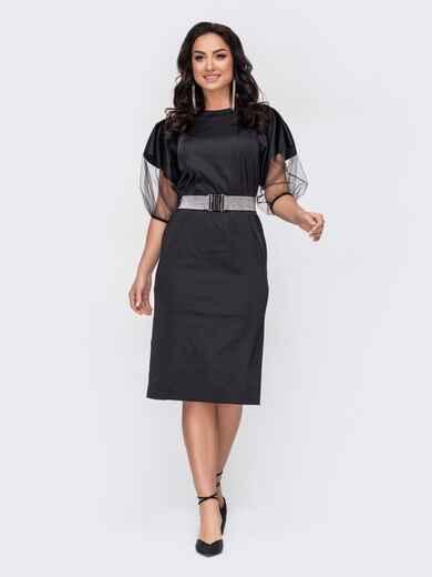 Платье батал с рукавами-буфами из сетки черное 52774, фото 1