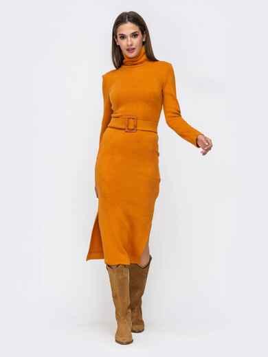 Платье-гольф терракотового цвета из мягкой ангоры - 41734, фото 1 – интернет-магазин Dressa
