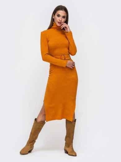 Платье-гольф терракотового цвета из мягкой ангоры - 41734, фото 2 – интернет-магазин Dressa