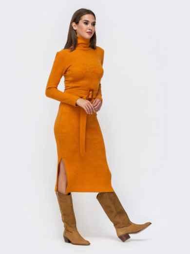 Платье-гольф терракотового цвета из мягкой ангоры - 41734, фото 3 – интернет-магазин Dressa