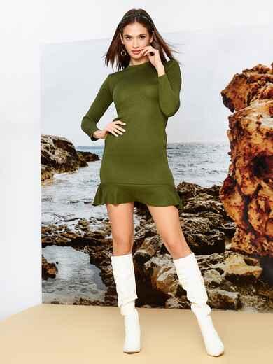 Платье из трикотажа цвета хаки с оборкой по низу - 42286, фото 1 – интернет-магазин Dressa