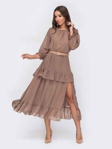 Платье-миди из шифона с высоким разрезом бежевое 52969, фото 1
