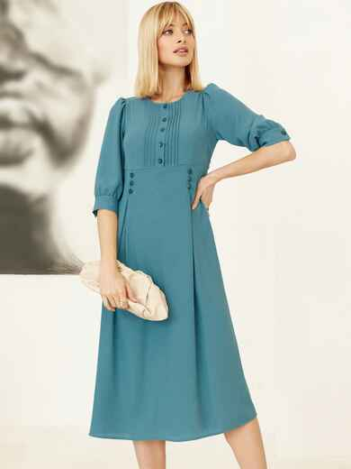 Платье с завышенной талией и юбкой со складками бирюзовое 52970, фото 1