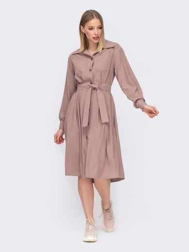 Расклешенное платье-рубашка бежевого цвета 45638, фото 1