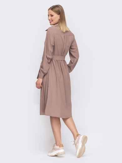 Расклешенное платье-рубашка бежевого цвета 45638, фото 2