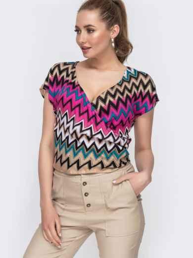 Розовая блузка приталенного силуэта с принтом 47540, фото 1
