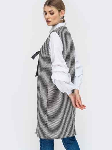 Серый жилет из букле с принтом - 45276, фото 2 – интернет-магазин Dressa