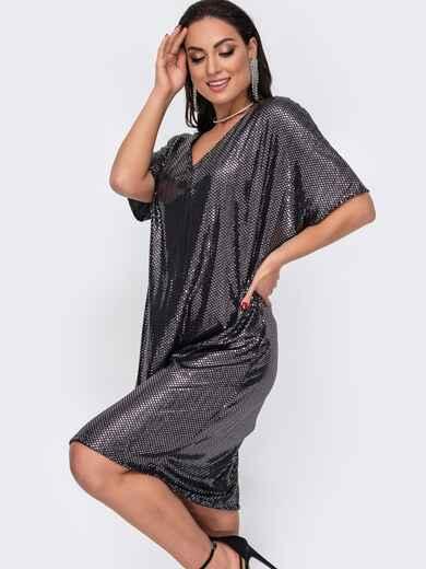 Свободное платье батал с пайетками черное 52154, фото 1