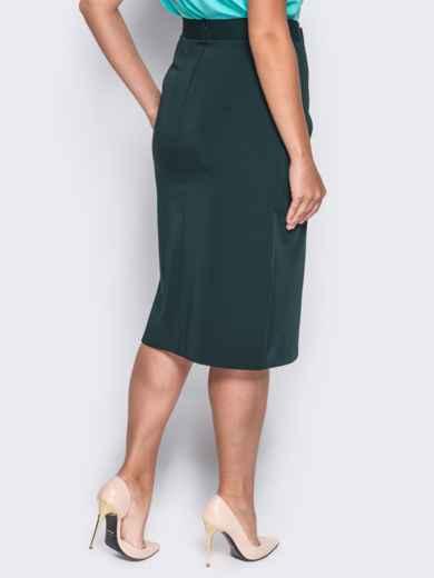 Юбка из костюмной ткани с высоким разрезом зелёная - 14323, фото 2 – интернет-магазин Dressa