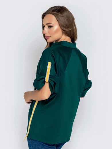 Зеленая рубашка со шлевками на рукавах 40832, фото 2