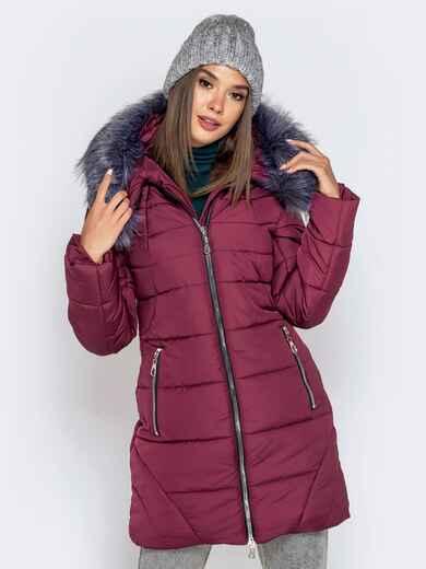 Зимняя куртка бордового цвета с капюшоном 40634, фото 1