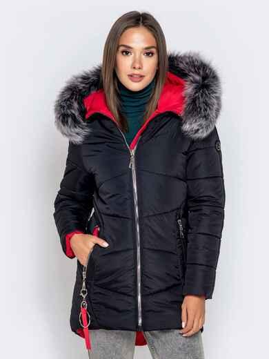 Зимняя куртка с удлиненной спинкой и капюшоном чёрная 40631, фото 1