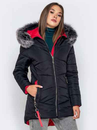 Зимняя куртка с удлиненной спинкой и капюшоном чёрная - 40631, фото 2 – интернет-магазин Dressa