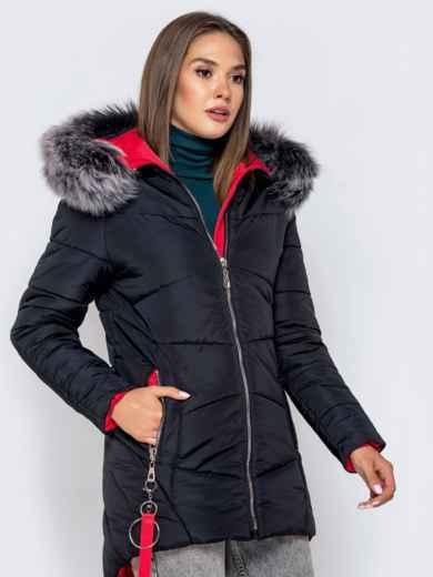 Зимняя куртка с удлиненной спинкой и капюшоном чёрная - 40631, фото 3 – интернет-магазин Dressa