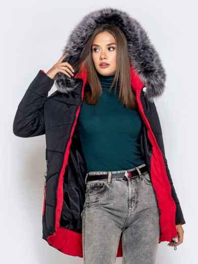 Зимняя куртка с удлиненной спинкой и капюшоном чёрная - 40631, фото 4 – интернет-магазин Dressa