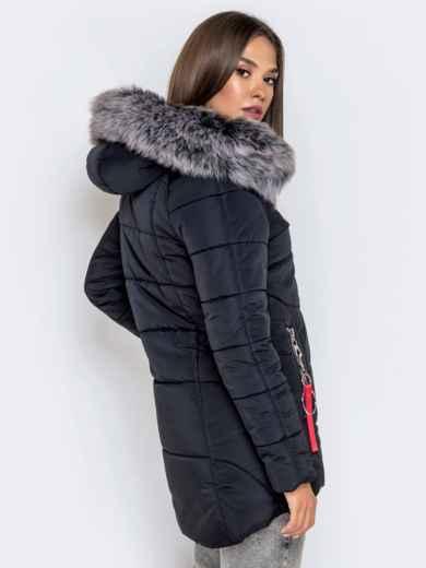 Зимняя куртка с удлиненной спинкой и капюшоном чёрная - 40631, фото 5 – интернет-магазин Dressa