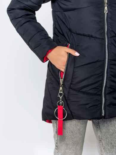 Зимняя куртка с удлиненной спинкой и капюшоном чёрная - 40631, фото 6 – интернет-магазин Dressa