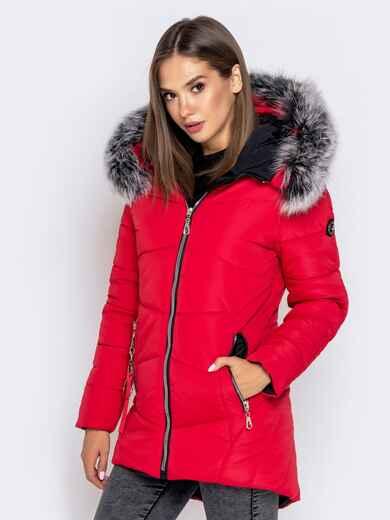 Зимняя куртка с удлиненной спинкой и капюшоном красная 40632, фото 1