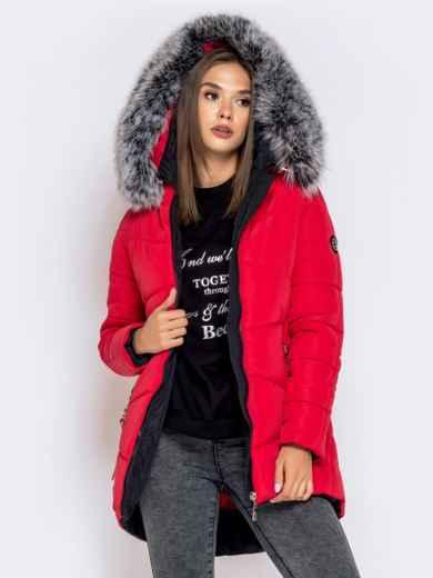 Зимняя куртка с удлиненной спинкой и капюшоном красная - 40632, фото 2 – интернет-магазин Dressa
