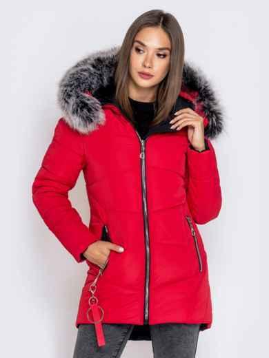 Зимняя куртка с удлиненной спинкой и капюшоном красная - 40632, фото 3 – интернет-магазин Dressa