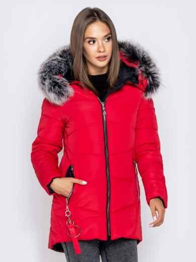 Зимняя куртка с удлиненной спинкой и капюшоном красная - 40632, фото 4 – интернет-магазин Dressa