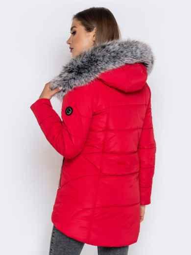 Зимняя куртка с удлиненной спинкой и капюшоном красная - 40632, фото 5 – интернет-магазин Dressa