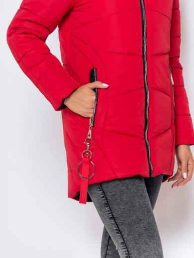 Зимняя куртка с удлиненной спинкой и капюшоном красная - 40632, фото 6 – интернет-магазин Dressa