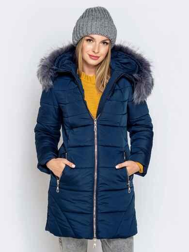 Зимняя куртка тёмно-синего цвета с капюшоном 40635, фото 1