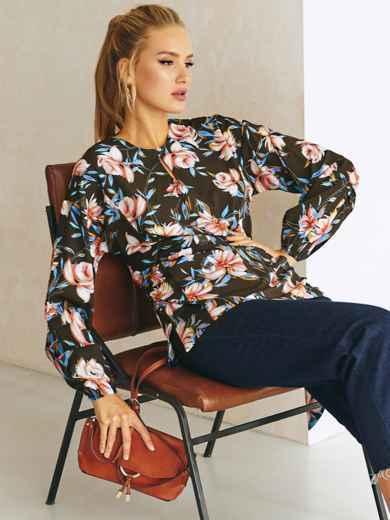 Черная блузка с принтом и вырезом капелька 54633, фото 1
