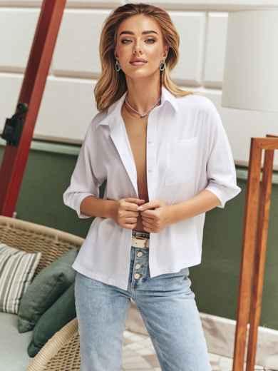 Белая блузка с нагрудным карманом 54638, фото 1