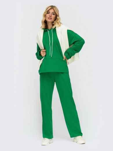 Спортивный костюм из худи и широких брюк зеленый 55222, фото 1