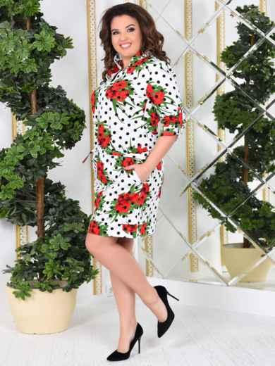 Белое платье-рубашка большого размера с принтом - 47994, фото 2 – интернет-магазин Dressa