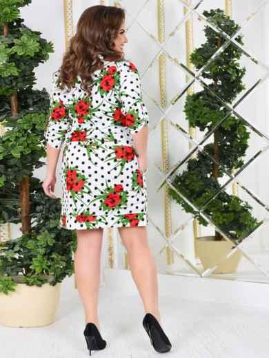 Белое платье-рубашка большого размера с принтом - 47994, фото 3 – интернет-магазин Dressa
