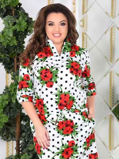 Белое платье-рубашка большого размера с принтом - 47994, фото 4 – интернет-магазин Dressa