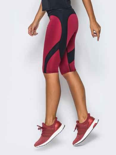 Бриджи бордового цвета из плотного бифлекса - 17140, фото 2 – интернет-магазин Dressa
